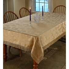 Classic Damask Design Fringes Tablecloth