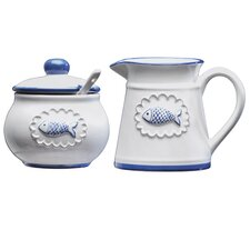San Remo 20 Oz. Ceramic Creamer and Sugar Bowl Set