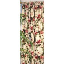 Orchids Cotton Rod Pocket Curtain Single Panel with Tiebacks