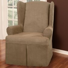 Faux Suede Wing Chair T-Cushion Slipcover