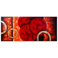Contemporary Red Rings Original Painting on Wrapped Canvas