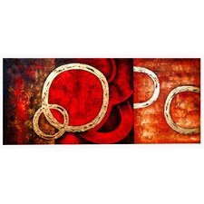 Contemporary Gold Rings Original Painting on Wrapped Canvas