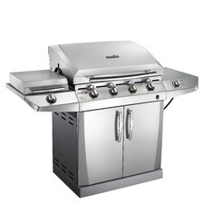 TRU-Infrared Performance 4-Burner Deluxe Gas Grill with Side Burner, Autoclean, and Storage Cabinet - Dual Fuel Capable