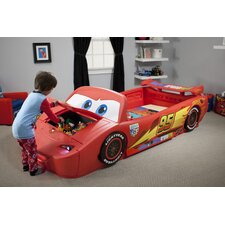 Disney Cars Convertible Toddler to Twin Bed with Lights and Toy Box