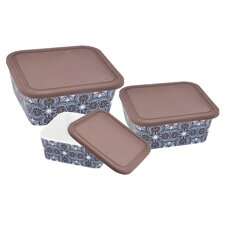 Imperial 3 Piece Silicon Lid Porcelain Food Container Set