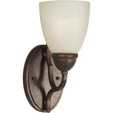 One Light Wall Sconce with Umber Linen Glass Shade in Black Cherry