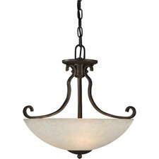 Three Light Convertible Pendant with Tapioca Shade in Antique Bronze