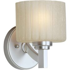 One Light Wall Sconce with Umber Linen Glass Shade in Brushed Nickel