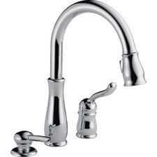 Leland Single Handle Deck Mounted Kitchen Faucet with Soap Dispenser
