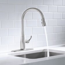 "Simplice Single-Hole or Three-Hole Kitchen Sink Faucet with 16-5/8"" Pull-Down Spout"