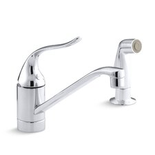 "Coralais Two-Hole Kitchen Sink Faucet with 8-1/2"" Spout, Matching Finish Side-Spray and Lever Handle"