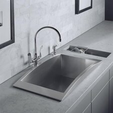 Swerve Top-Mount Single-Bowl Kitchen Sink with Bottom Bowl Rack