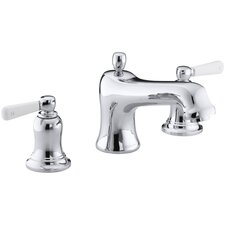 Bancroft Bath Faucet Trim for Deck-Mount Valve with Diverter Spout and White Ceramic Lever Handles, Valve Not Included
