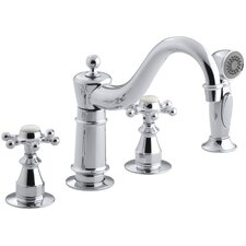 "Antique Three-Hole Kitchen Sink Faucet with 8-5/8"" Spout, Sidespray and 6-Prong Handles"