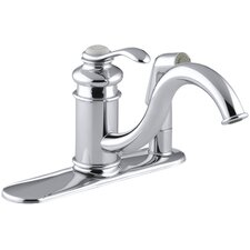 "Fairfax Three-Hole Kitchen Sink Faucet with 9"" Spout and Matching Finish Sidespray In Escutcheon"
