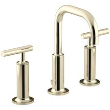 Purist Widespread Bathroom Sink Faucet with High Lever Handles and Low Gooseneck Spout