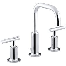 Purist Widespread Bathroom Sink Faucet with Low Lever Handles and Low Gooseneck Spout