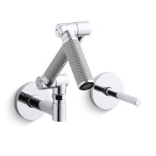 Karbon Articulating Wall-Mount Bathroom Sink Faucet with Silver Tube and Lever Handle