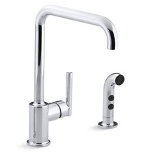 "Purist Two-Hole Kitchen Sink Faucet with 8"" Spout and Matching Finish Sidespray"