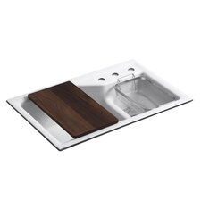 "Indio 33"" x 21-1/8"" x 9-3/4"" Under-Mount Smart Divide Large/Small Double-Bowl Kitchen Sink with Three-Hole Faucet Holes"