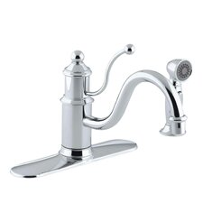 "Antique Three-Hole Kitchen Sink Faucet with Escutcheon Plate, 8-7/8"" Spout , Sidespray and Lever Handle"