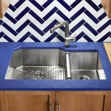 "Strive 35-1/2"" x 20-1/4"" x 9-5/16"" Under-Mount Extra-Large/Medium Double-Bowl Kitchen Sink with Basin Rack"