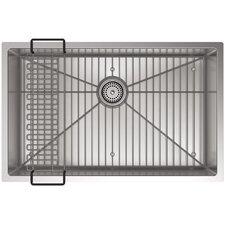"Strive 29"" x 18-5/16"" x 9-5/16"" Under-Mount Medium Single Bowl Kitchen Sink with Basin Rack"