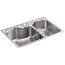 "Octave 33"" x 22"" x 9-5/16"" Top-Mount Large/Medium Double-Bowl Stainless Steel Kitchen Sink with Four-Faucet Holes"