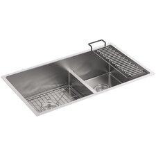 "Strive 32"" x 18-5/16"" x 9-5/16"" Smart Divide Under-Mount Large/Medium Double-Bowl Kitchen Sink with Basin Rack"