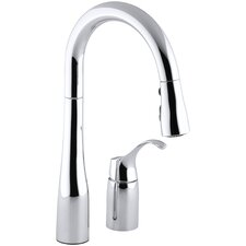 "Simplice Two-Hole Kitchen Sink Faucet with 14-3/4"" Pull-Down Swing Spout, Docknetik Magnetic Docking System, and A 3-Function Sprayhead Featuring The New Sweep Spray"