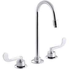 Triton Widespread Commercial Bathroom Sink Faucet with Flexible Connections, Gooseneck Spout and Wristblade Lever Handles, Drain Not Included and Lift Rod