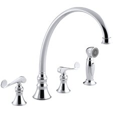 "Revival 4-Hole Kitchen Sink Faucet with 11-13/16"" Spout, Matching Finish Sidespray and Scroll Lever Handles"