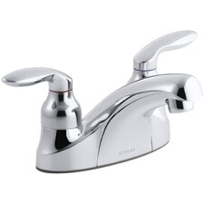 Coralais Centerset Commercial Bathroom Sink Faucet with Lift-Rod Hole with Plug and Lever Handles, Drain Not Included