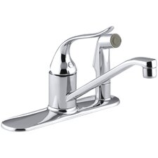 "Coralais Three-Hole Kitchen Sink Faucet with 8-1/2"" Spout, Matching Finish Sidespray Through Escutcheon and Lever Handle"