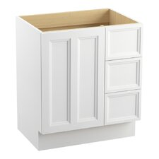 """Damask 30"""" Vanity Base with Toe Kick, 1 Door and 3 Drawers on Right"""