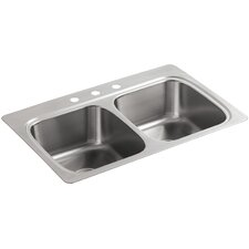 Verse Top-Mount Double-Equal Bowl Kitchen Sink with 3 Faucet Holes
