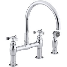 Parq Double Handle Deck-Mount Kitchen Faucet with Spray