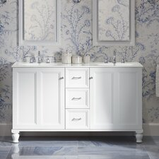 """Damask 60"""" Vanity with Furniture Legs, 2 Doors and 3 Drawers"""