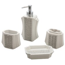 Greek Key 4 Piece Bath Accessory Set