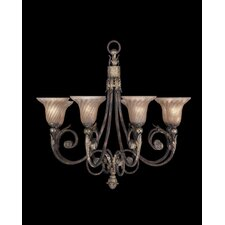 Stile Bellagio Eight Light Chandelier in Tortoised Leather Crackle
