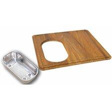 Wood Cutting Board with Steel Colander in Teak