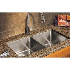"Professional 35.06"" x 18.13"" Double Bowl Kitchen Sink"