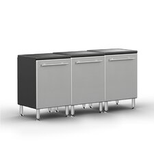 Garage PRO 3' H x 6' W x 2' D 3-Piece Base Cabinet Set