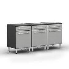 Garage PRO 3' H x 6' W x 2' D 3 Piece Base Cabinet Set