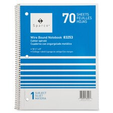 """Notebooks, Wirebound, 1 Subject, 10-1/2""""x8"""", College Ruled, 70SH"""