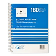 """Notebooks, Wirebound, 5 Subject, 10-1/2""""x8"""", Wide Ruled, 180SH"""