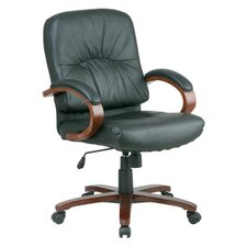 Mid-Back Leather Lorell Woodbridge Series Conference Chair