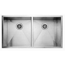 """36.94"""" x 20.06"""" Undermount Double Bowl Kitchen Sink"""
