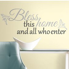 Peel and Stick 25 Piece Bless This Home Wall Decal