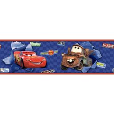"Room Mates Deco 15' x 9"" Cars Lightning McQueen and Mater Scenic Border Wallpaper"